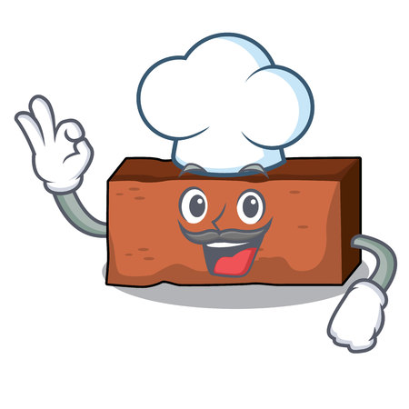 Chef brick character cartoon style vector illustration