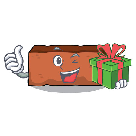 With gift brick mascot cartoon style vector illustration
