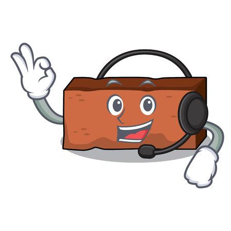 With headphone brick mascot cartoon style vector illustration