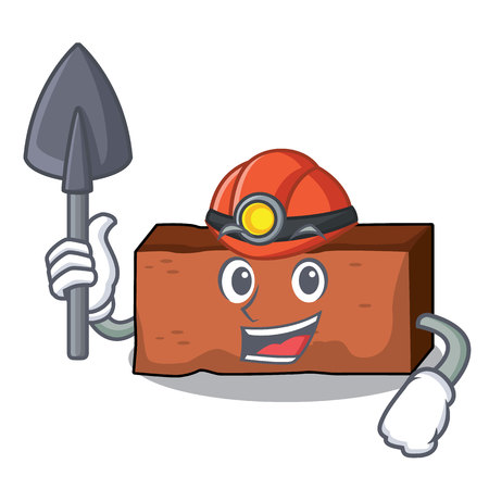 Miner brick mascot cartoon style vector illustration