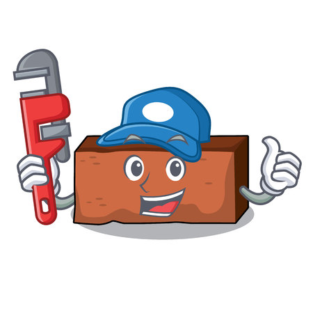Plumber brick mascot cartoon style vector illustration