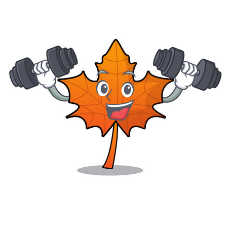 Fitness red maple leaf character cartoon vector illustration