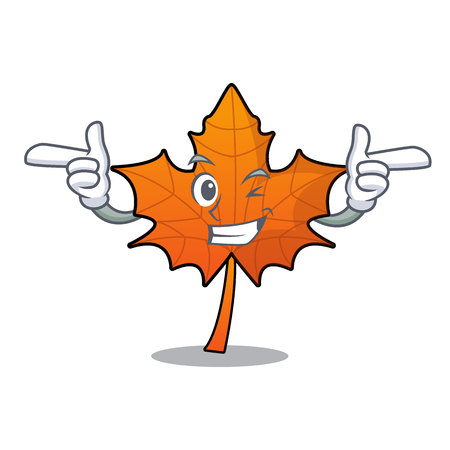 Wink red maple leaf character cartoon vector illustration