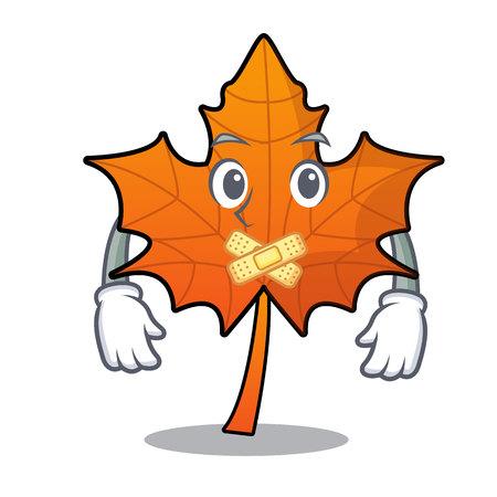 Silent red maple leaf mascot cartoon vector illustration
