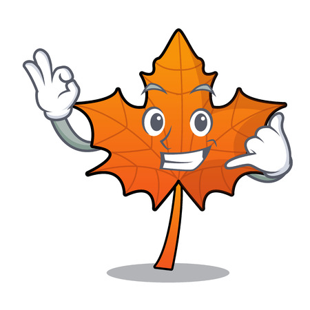 Call me red maple leaf mascot cartoon vector illustration