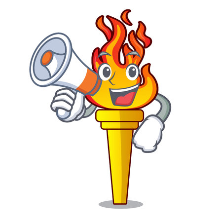 With megaphone torch character cartoon style vector illustration