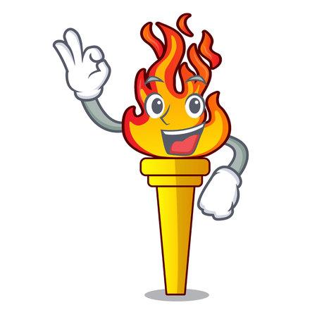Okay torch character cartoon style vector illustration