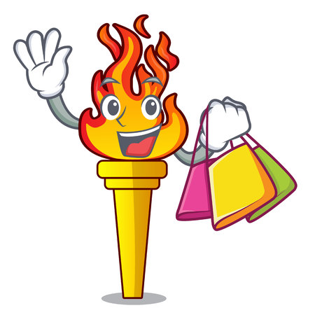 Shopping torch character cartoon style vector illustration