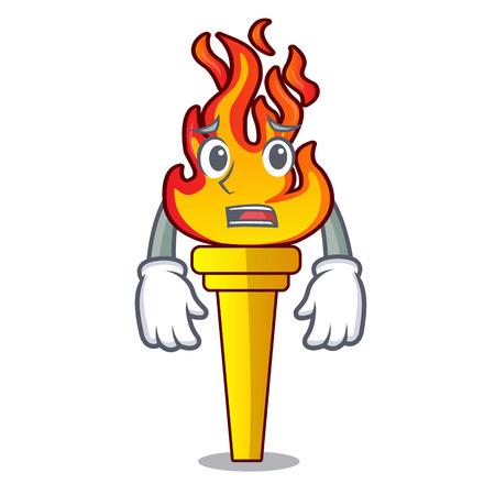 Afraid torch mascot cartoon style vector illustration
