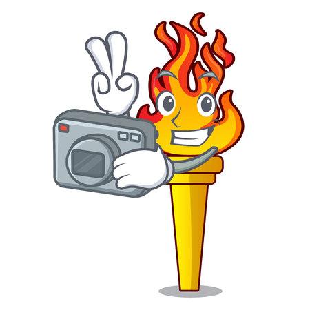 Photographer torch mascot cartoon style vector illustration Illustration