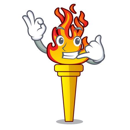Call me torch mascot cartoon style vector illustration