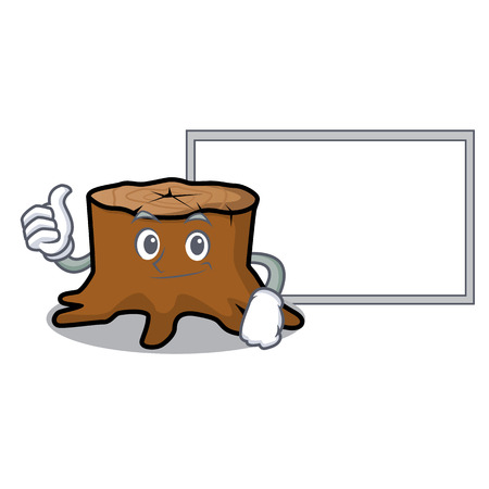 Thumbs up with board tree stump character cartoon vector illustration