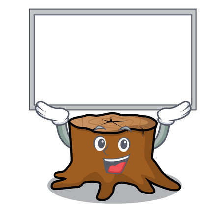 Up board tree stump character cartoon vector illustration