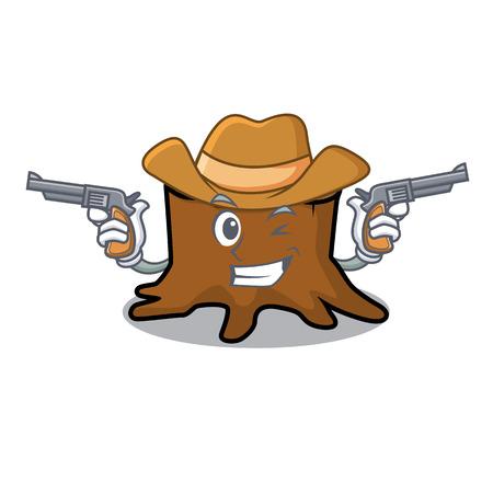 Cowboy tree stump character cartoon vector illustration Vectores