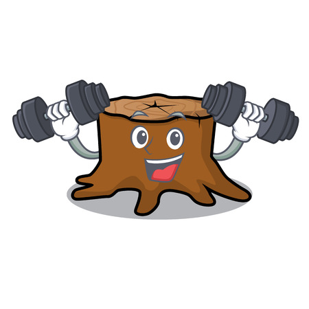 Fitness tree stump character cartoon vector illustration