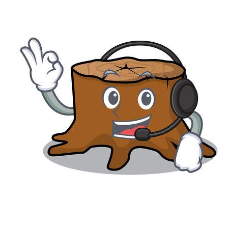With headphone tree stump mascot cartoon vector illustration