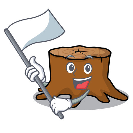 With flag tree stump mascot cartoon