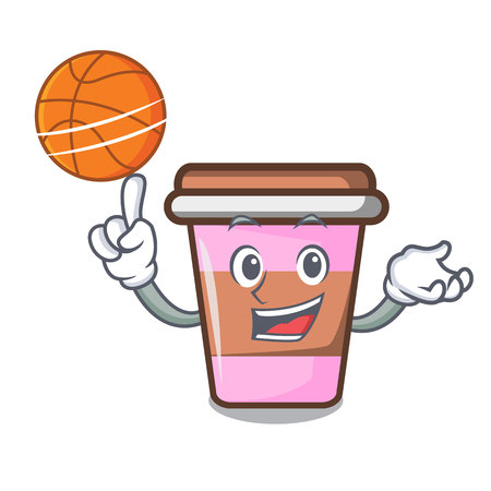 With basketball coffee cup character cartoon