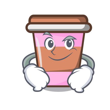Smirking coffee cup character cartoon