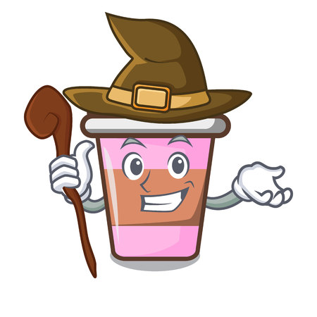 Witch coffee cup mascot cartoon