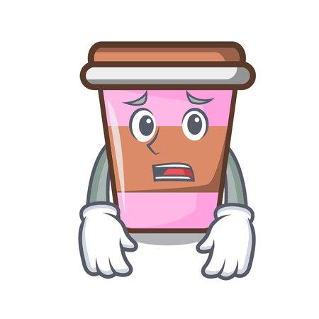 Afraid coffee cup mascot cartoon Ilustração