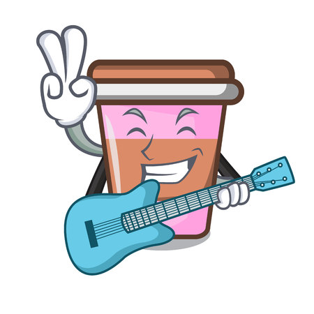 With guitar coffee cup mascot cartoon