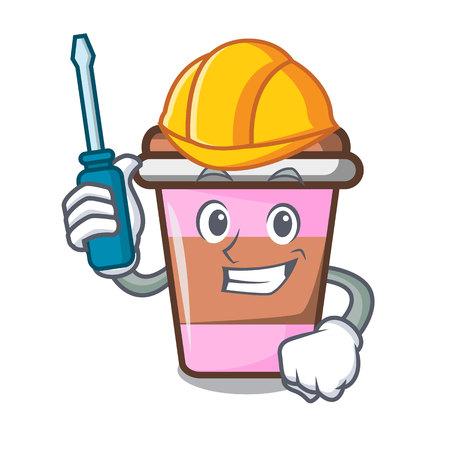 Automotive coffee cup mascot cartoon