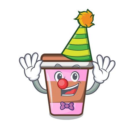 Clown coffee cup mascot cartoon