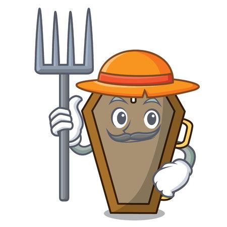 Farmer coffin character cartoon style