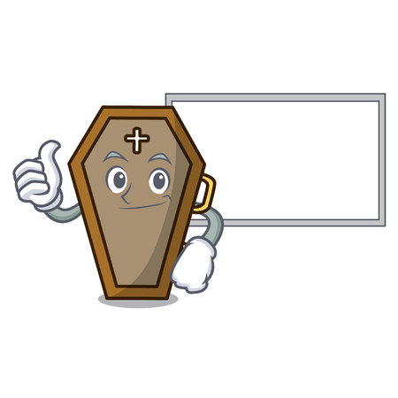 Thumbs up with board coffin character cartoon style