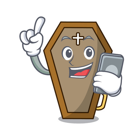 With phone coffin character cartoon style