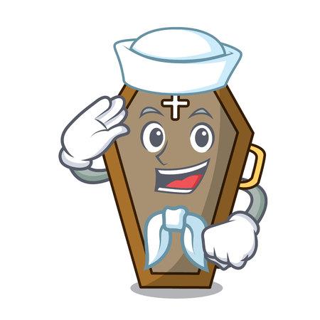 Sailor coffin character cartoon style Illustration