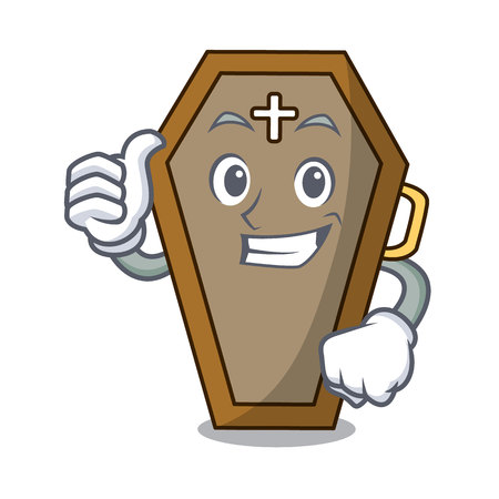 Thumbs up coffin character cartoon style