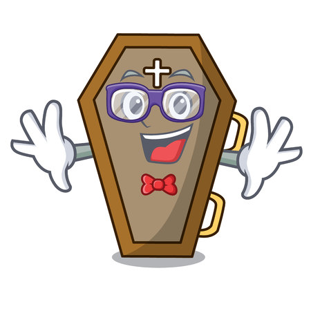 Geek coffin character cartoon style