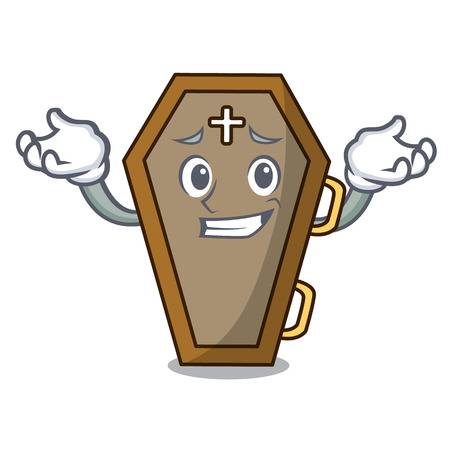 Grinning coffin character cartoon style