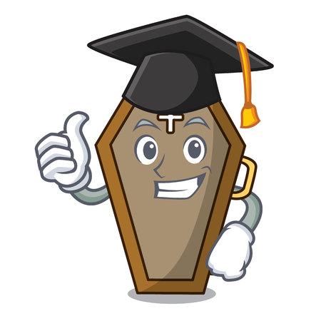 Graduation coffin character cartoon style