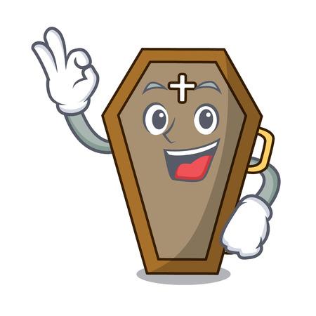 Okay coffin character cartoon style