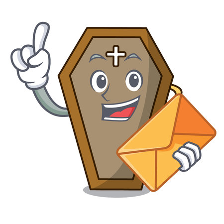 With envelope coffin character cartoon style