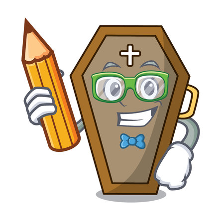 Student coffin character cartoon style