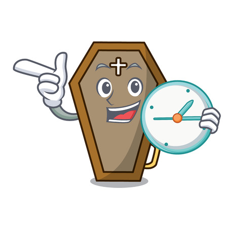 With clock coffin character cartoon style Foto de archivo - 104124071