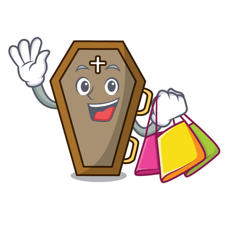 Shopping coffin character cartoon style