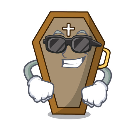 Super cool coffin character cartoon style