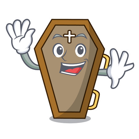 Waving coffin character cartoon style