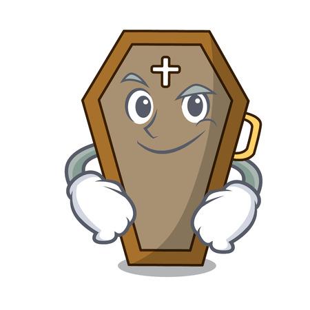 Smirking coffin character cartoon style
