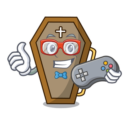 Gamer coffin mascot cartoon style