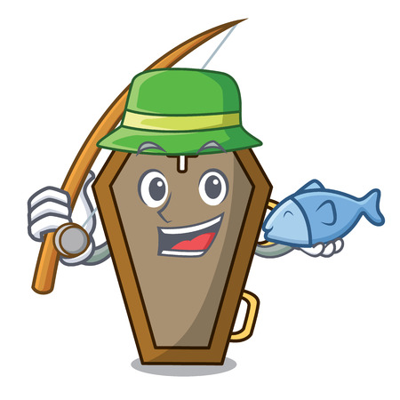 Fishing coffin mascot cartoon style
