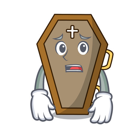 Afraid coffin mascot cartoon style