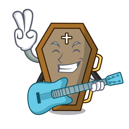 With guitar coffin mascot cartoon style  イラスト・ベクター素材