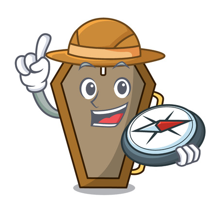 Explorer coffin mascot cartoon style