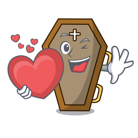 With heart coffin mascot cartoon style